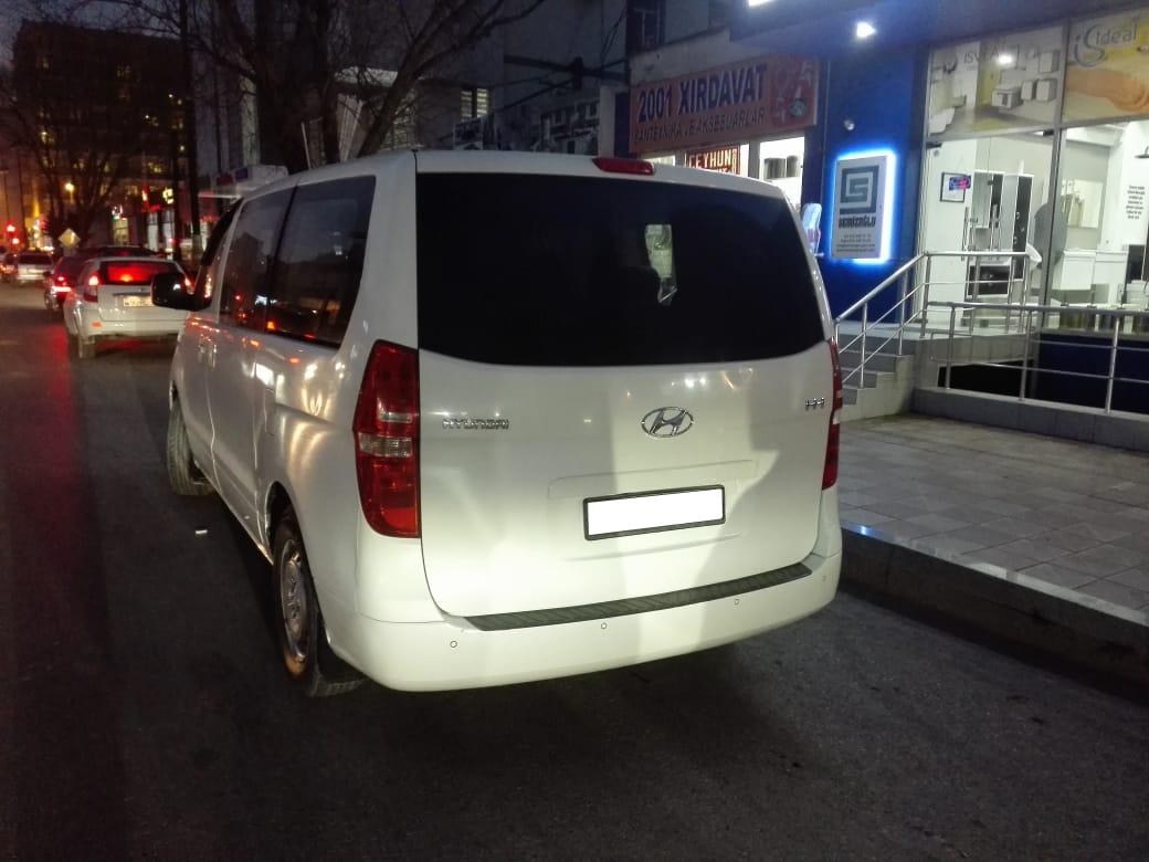 White Hyundai H-1 inside